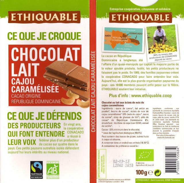 tablette de chocolat lait gourmand ethiquable république dominicaine lait cajou caramélisée