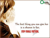 A plea to stop female foeticide, supporting the fight against crimes against women.