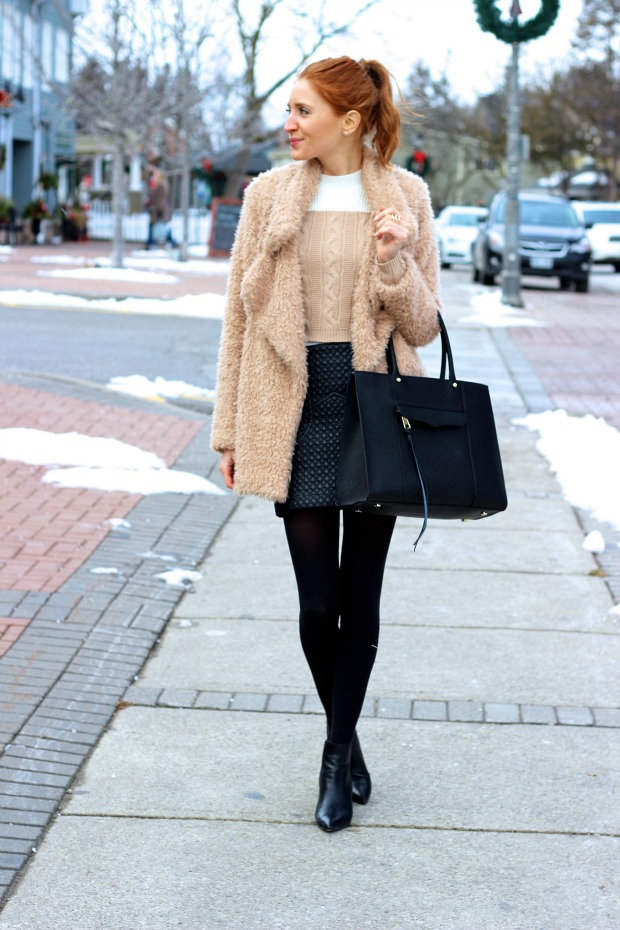 Faux Fur & Quilted Black Mini Skirt- winter chic