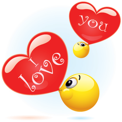 Bubble love emoticons