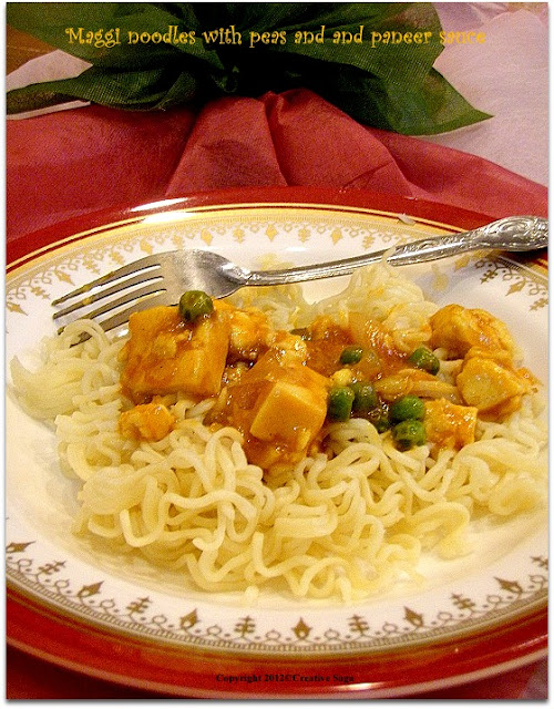 maggi with peas and paneer sauce