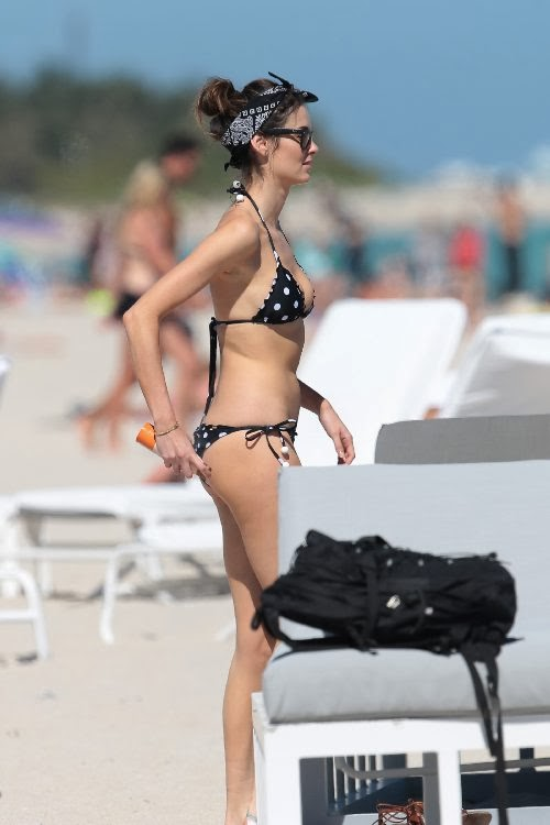 Nicole Trunfio Black Polka Dot Bikini Miami February 16, 2014