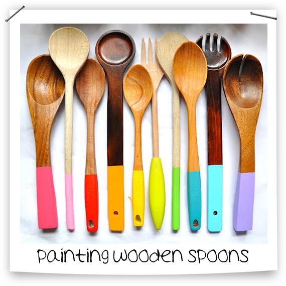 kolorowe łyżki, pomaluj przybory kuchenne, ładna kuchnia