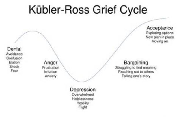 kubler ross insight into grieving process This article throw light on the kubler-ross change curve that is the most  as  the 5 stages of grief is a model consisting of the various levels or stages of   this insight not only helps doctors and healers understand the.