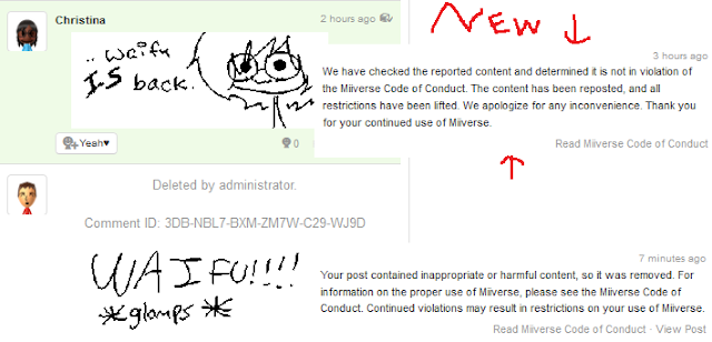 Miiverse admin reported content not in violation of Miiverse Code of Conduct