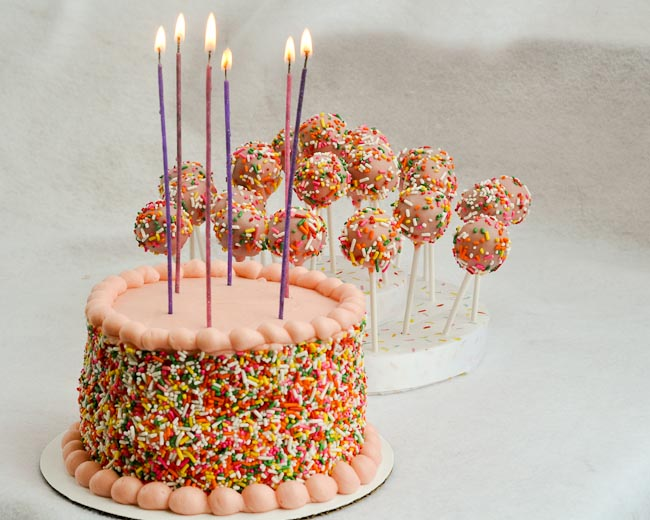 Pink With Sprinkles Easy Birthday Cake