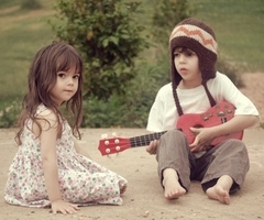 children with guitar, music talent, art talent, happy kids