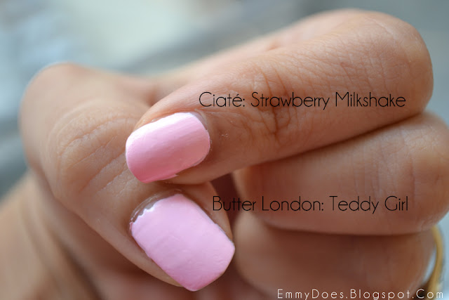 The Perfect Valentine's Day Nailpolish: Ciate's Strawberry Milkshake vs Butter London Teddy Bear - Xoxo Emmy