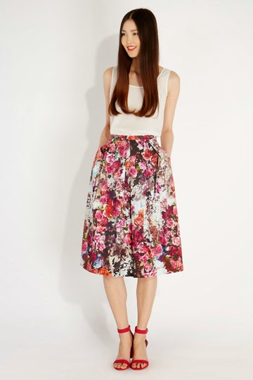 oasis floral skirt