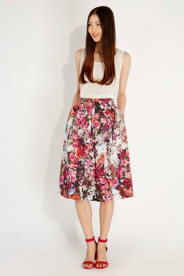 oasis floral skirt