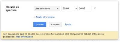 Ficha de empresa para Google Place