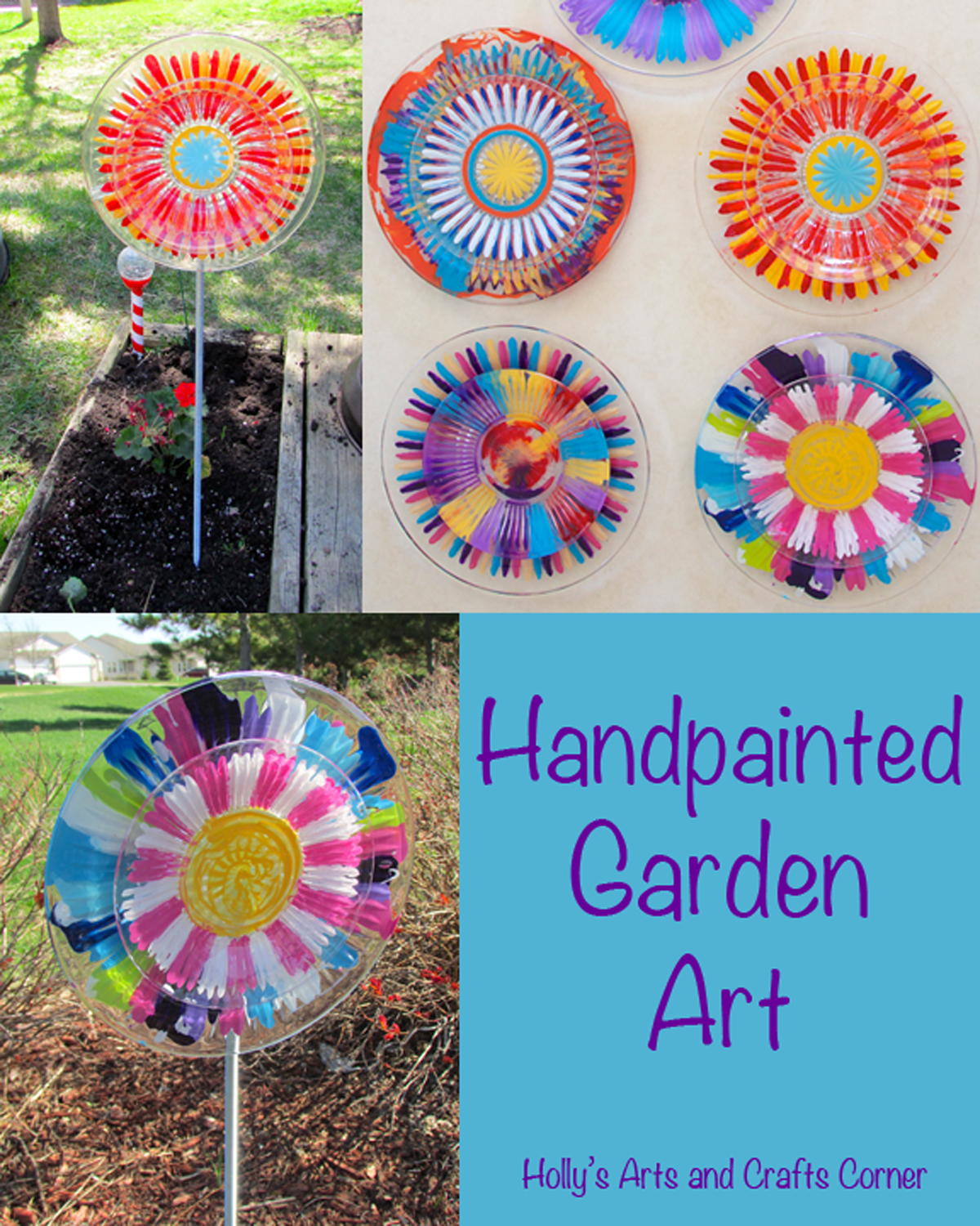 Hollys Arts and Crafts Corner Craft Project Handpainted Garden Art