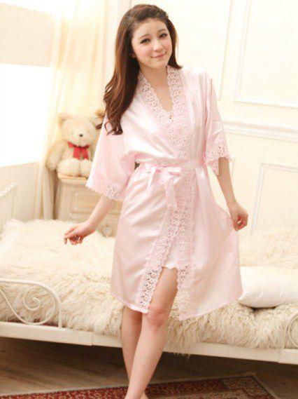 gambar Baju Tidur Kimono Lingerie SL1209 Soft Pink