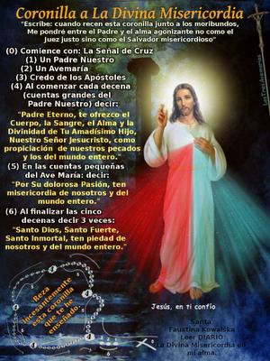 foto que enseña la coronilla a la divina misericordia para los moribundos