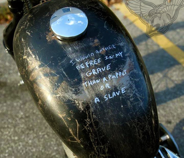 free or slave gas tank scrawl | found at facebook.com/Ride1Free