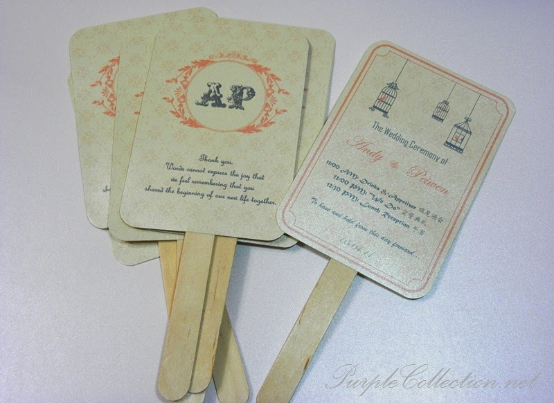 program fans, wedding, marriage, chinese, western, bird cage, initial, monogram, peach colour, ice cream stick, handmade, hand craft, invitation card, kad kahwin, malaysia, singapore, kuala lumpur, selangor, online, buy, sale, beige colour