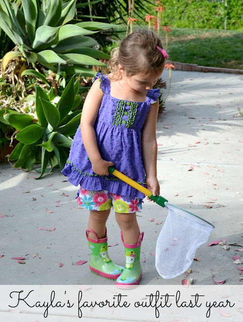 Little girl Spring style with swiss dot shirt and Hello Kitty Rain boots #cbias