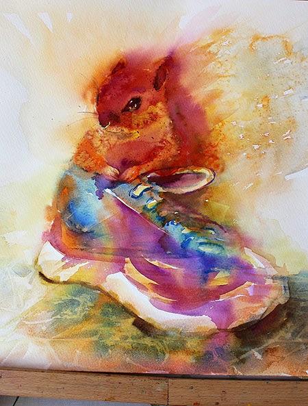 """Original chipmunk animal watercolor """"Suits me the best"""" by Olga Peregood"""