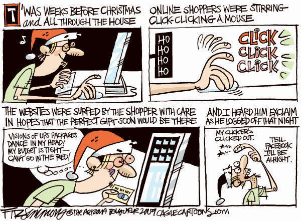 twas the night before christmas shopping funny cartoon