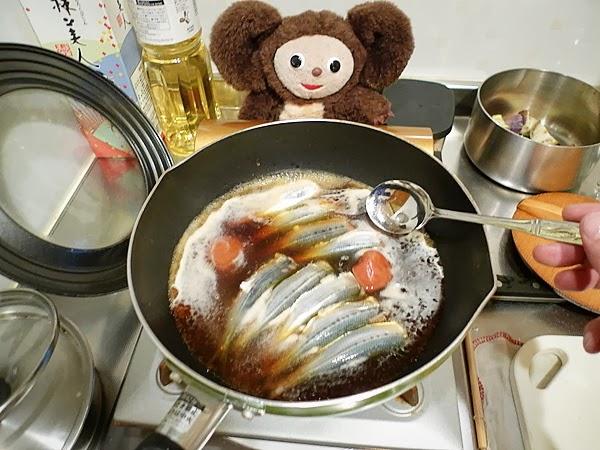 イワシとナスの梅煮そばの作り方(3)