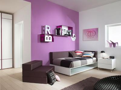 habitación juvenil color lila