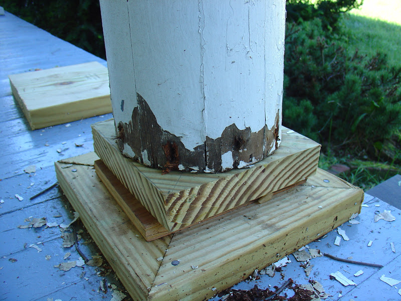 Life at pugsley porch column bases 3 making and for Round porch columns