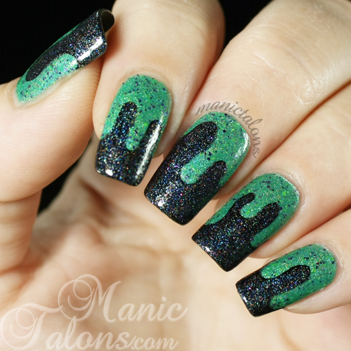 Slime manicure with Glam Polish Frankenslime 2014 and That Old Black Magic