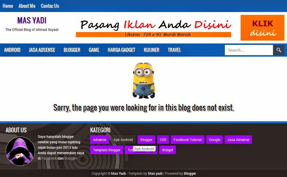 Cara Membuat Halaman Error 404 Keren di Blog Ala Mas Yadi