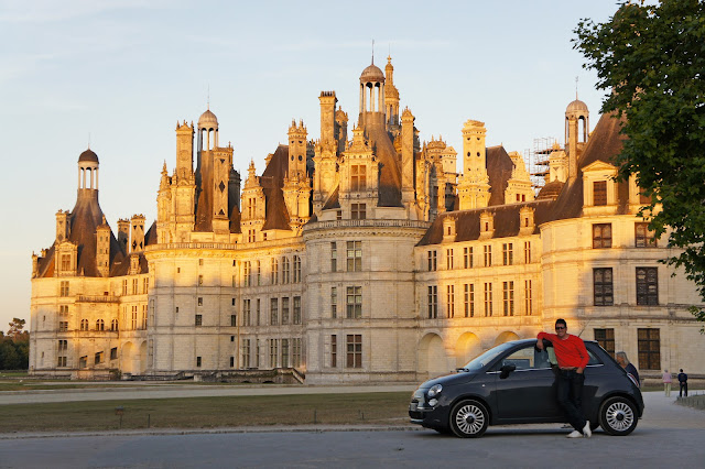 chateau chambord, france, sunset
