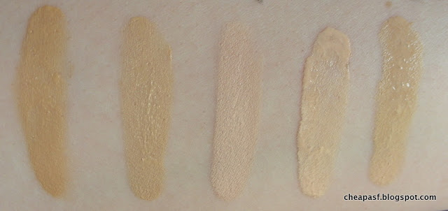 Swatches (left to right): Paula's Choice Barely There Tint in Shade 2, Paula's Choice Barely There Tint in Shade 2, Revlon Colorstay Foundation in Ivory, Paula's Choice Best Face Forward Foundation in Best Bisque, Paula's Choice Best Face Forward Foundation in Best Linen