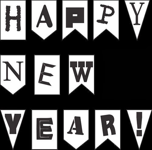 Free Happy New Year 2015 Clipart In Black And White