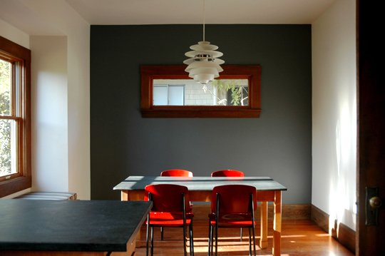 A Simple Dining Room Takes On Stunning Sophistication With Black Accent Wall I Love How Minimal This Is The Art