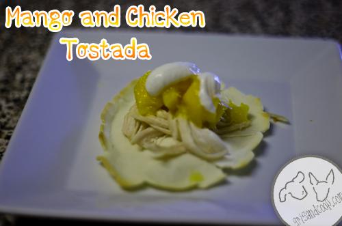Mango and Chicken Dog Tostada -- grisandcoop.com