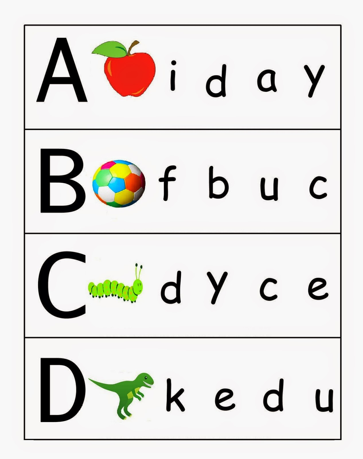 Matching Letters to Pictures A to F Worksheet - Turtle Diary