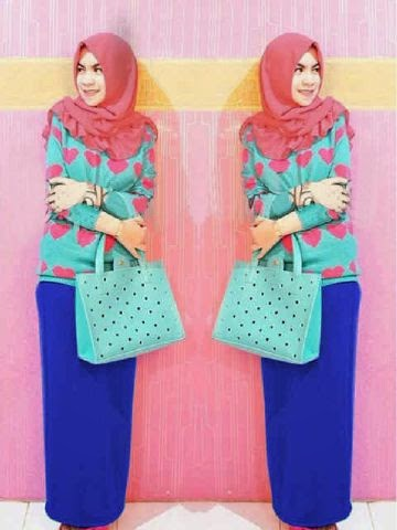 Spdx Rayon SUPER ORI (High Quality) Atasan Love+pashmina+Pencil Skirt With Rubber Fit,L besar