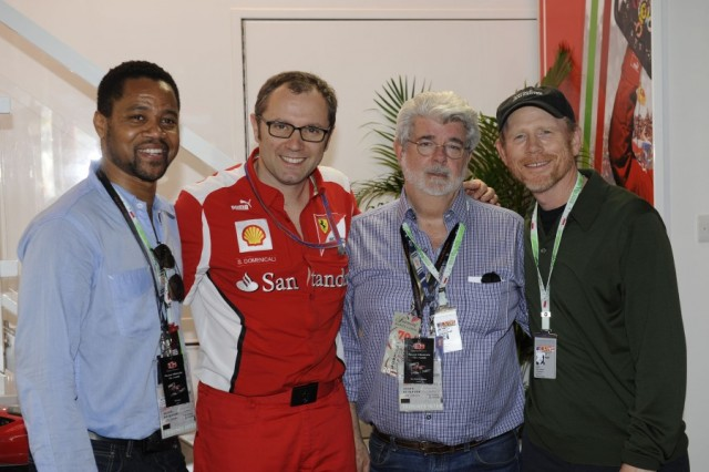 George Lucas With Ron Howard, Cuba Gooding Jr and Stefano Domenicali