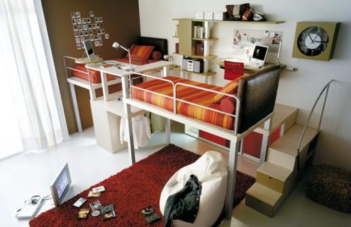 яркий дизайн маленькой комнаты для двух подростков фото