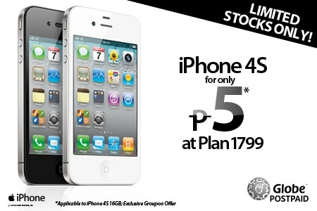 iPhone 4S for only P5 at Globe's Unli Surf Combo Plan 1799!