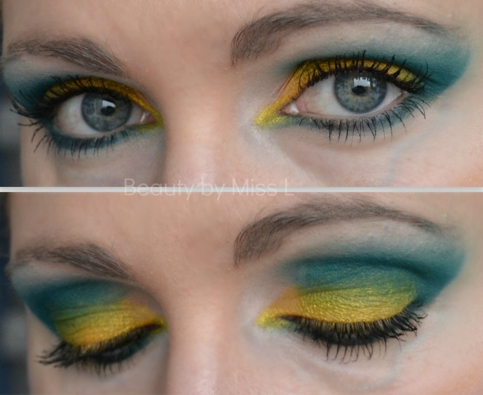 smokey eye, roheline kollane silmameik