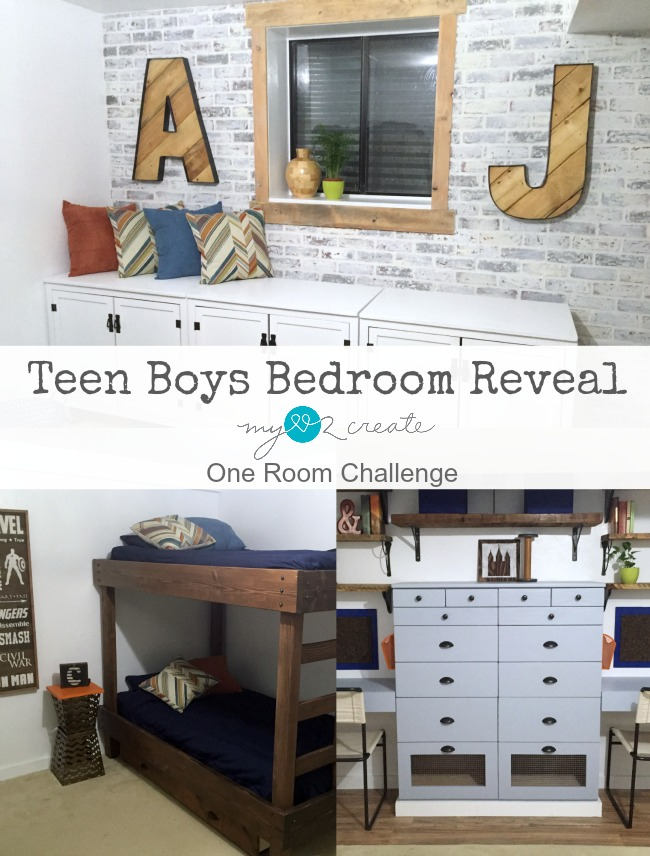 Awesome teen boys bedroom transformation with a rustic industrial feel,  from MyLove2Create.