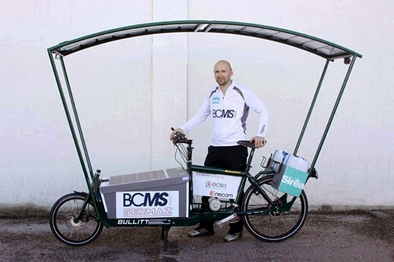 Lionelle Candelle with 300 watts of Enecom solar panels forming a canopy & My Solar Electric Cargo Bike: Bicycle bodywork (4 of 4) bike fairings