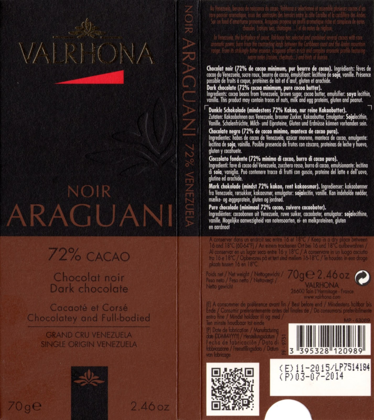 tablette de chocolat noir dégustation valrhona noir araguani 72
