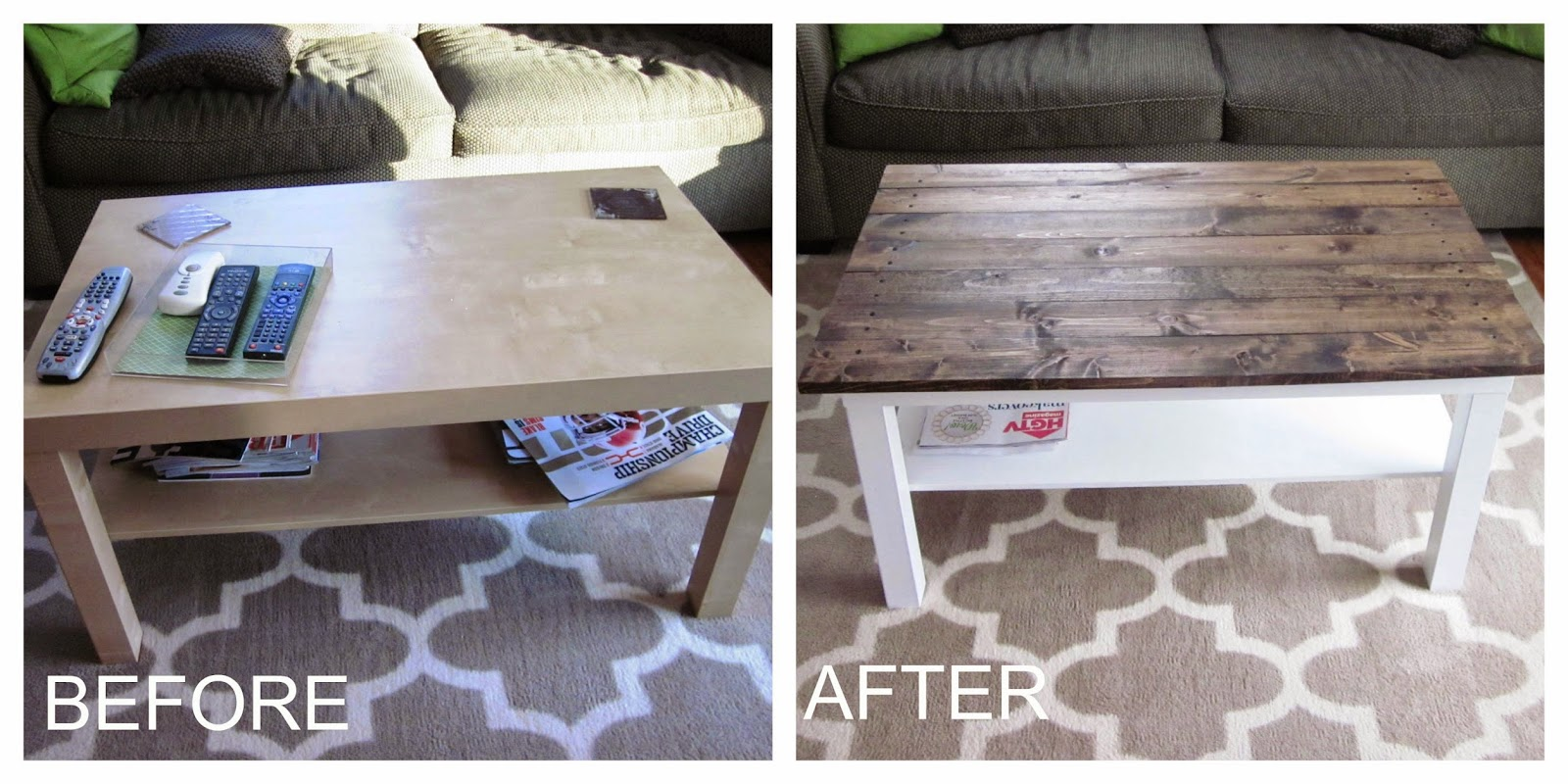 Bon Itu0027s A Long Story: Coffee Table Makeover: Wood Plank Table Top (Ikea Hack)
