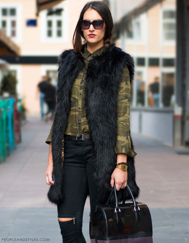 slashed knee jeans with zipps Maison Scotch, camo shirt and black faux fur gilete vest Asos, biker boots Antonela Knežević,