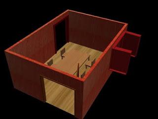 Sala de jantar em 3D vista de cima