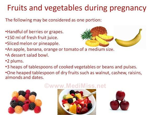 Fruits and vegetables during preganancy