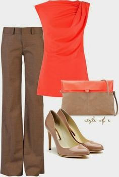 Tan and Coral outfit