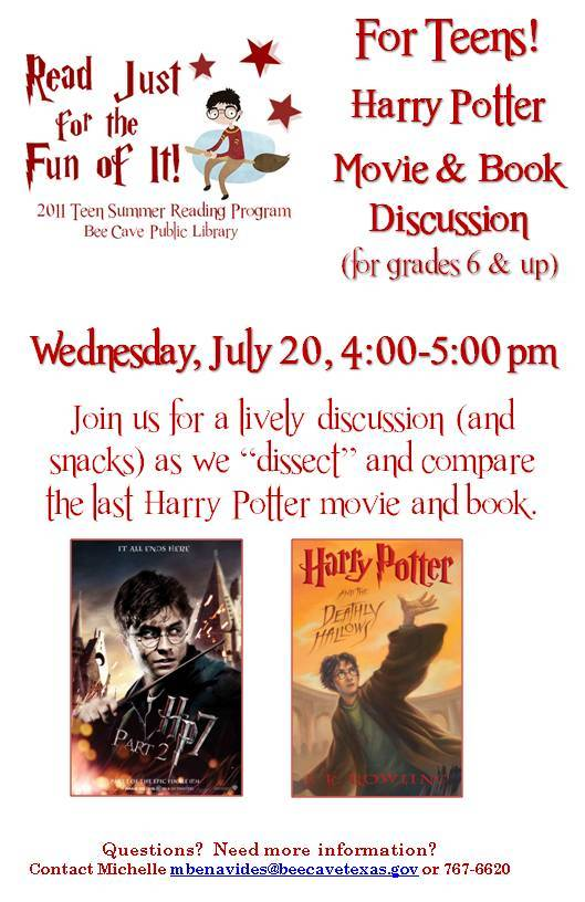 Harry Potter Book July ~ Bee cave summer reading program july