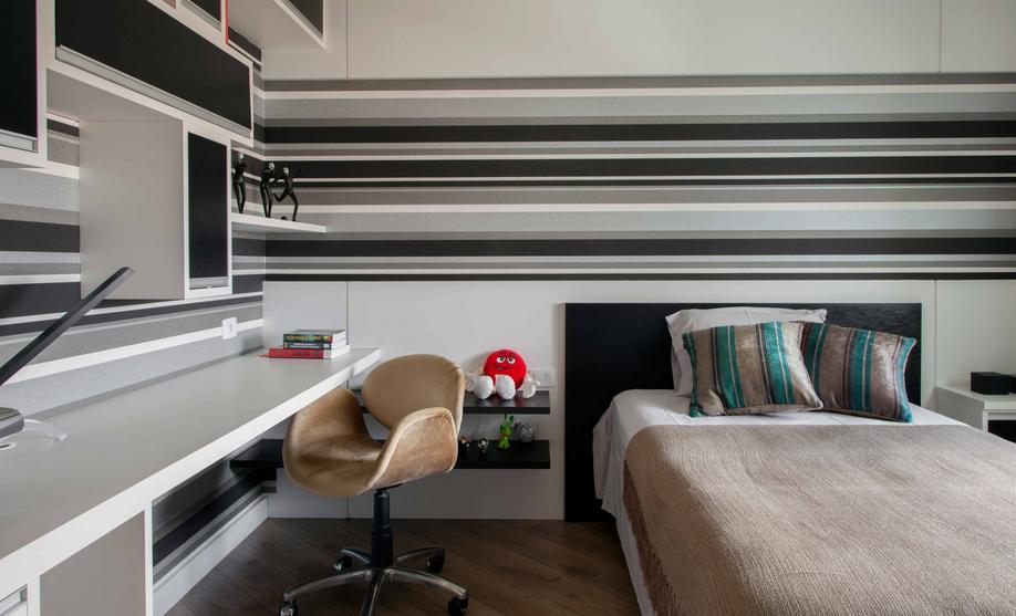 Decoracao De Quarto Solteiro Duplo ~   quartos masculinos E as listras de forma horizontal ajudam a ampliar