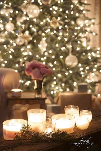 Christmas tree, candles on bench